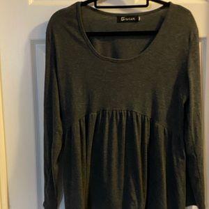 Dark gray casual pullover peplum top size L